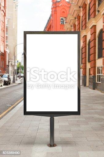 istock Blank vertical street billboard 825389490
