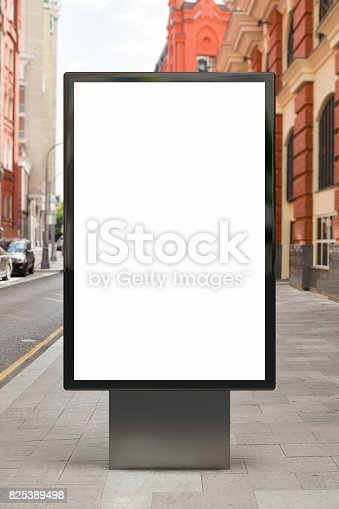istock Blank vertical street billboard 825389498