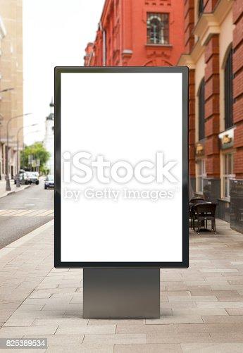 istock Blank vertical street billboard 825389534