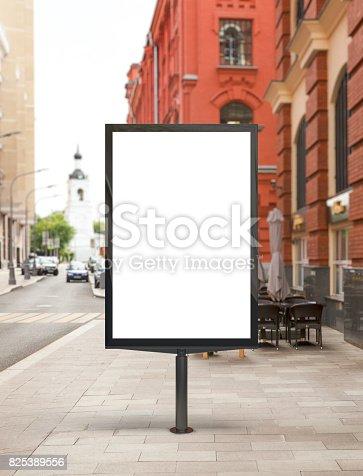 istock Blank vertical street billboard 825389556