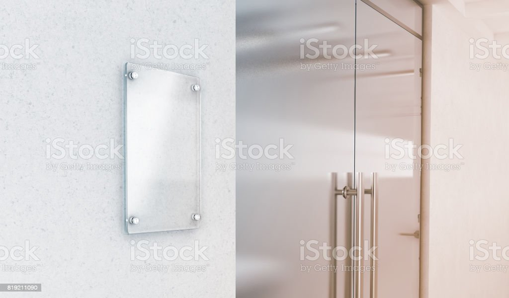 Blank Vertical Transparent Glass Sign Plate Mockup Stock Photo