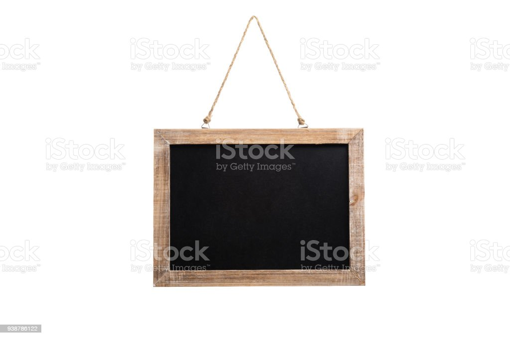 Blank vintage chalkboard with wooden frame and rope for hanging, isolated on white background stock photo