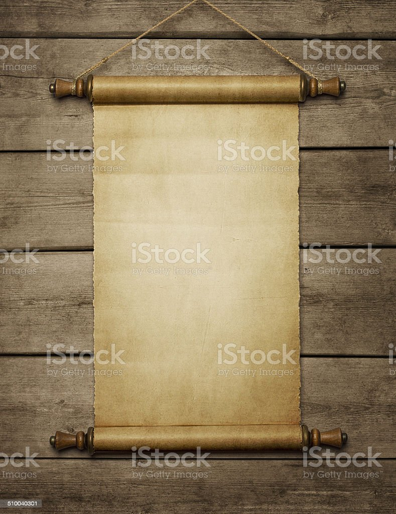 Blank vintage paper scroll stock photo
