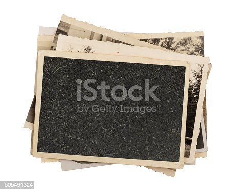 istock Blank vintage photo paper isolated 505491324