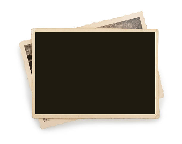 aislado en blanco vintage papel fotográfico - sepia imagen virada fotografías e imágenes de stock