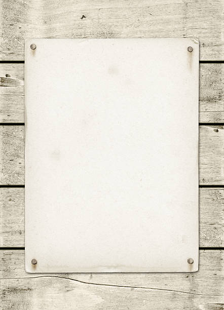 blank vintage poster nailed on a white wood board - 釘 個照片及圖片檔