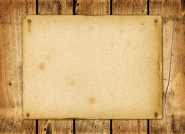 blank vintage poster nailed on a wood board - wild west stock photos and pictures