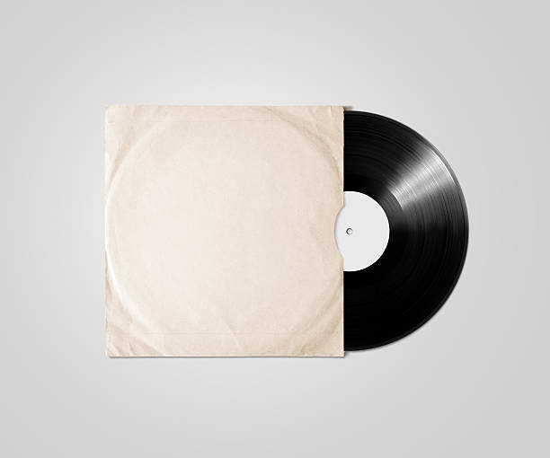 Blank vinyl album cover sleeve mockup, isolated, clipping path. Blank vinyl album cover sleeve mockup, isolated, clipping path. Gramophone music plate clear surface mock up. Paper sound shellac disc label template. Vintage old grunge cardboard vinyl disk package covering stock pictures, royalty-free photos & images