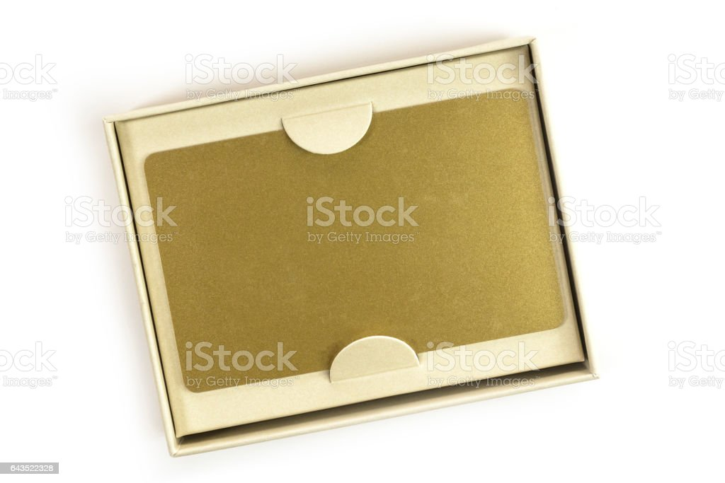 Blank VIP golden card in gift box, on white stock photo