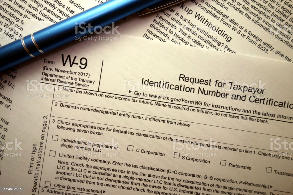 Blank W9 Tax Form And Pen Stock Photo More Pictures Of Accountancy