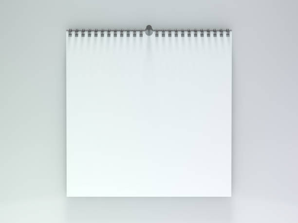 leere wandkalender mit feder. 3d - menüplanung vorlagen stock-fotos und bilder