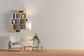 Blank wall in living room interior mock up with flooring, white chair, lamp, coffee table, bookshelf, plant. 3d render