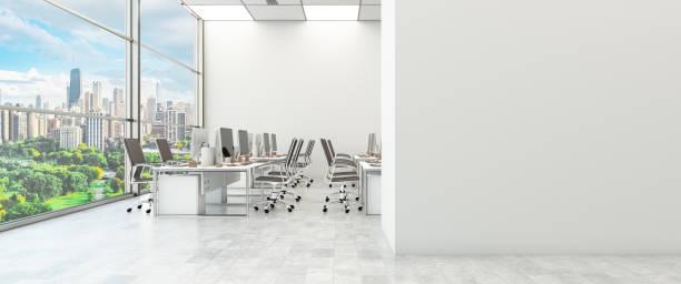 Blank Wall in Modern Office stock photo
