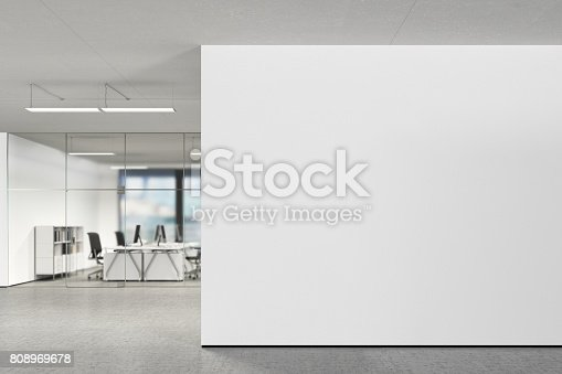 Blank wall in modern office. 3d illustration
