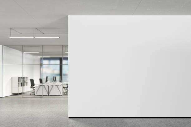 blank wall in modern office - wall foto e immagini stock