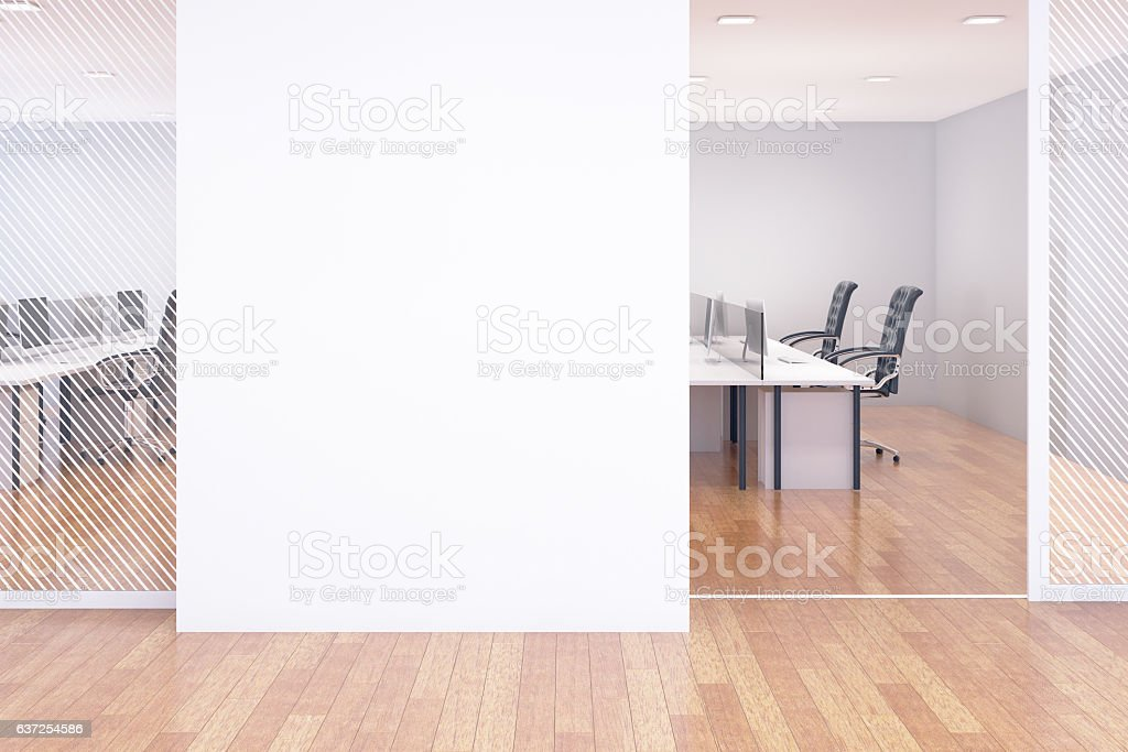 Blank wall in office stock photo