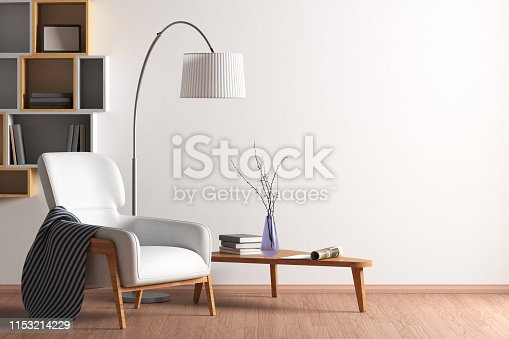 Blank wall mock up in living room interior with bookshelf; armchair; coffee table and floor lamp. 3d illustration