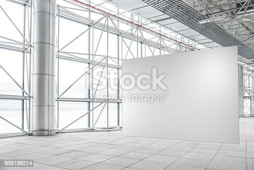 istock Blank wall mockup in modern empty gallery 939199214