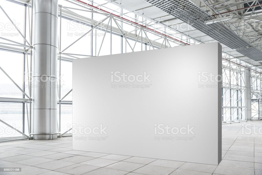 Blank wall mockup in modern empty gallery stock photo