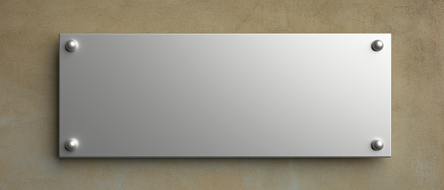 Blank metal wall sign mock up, 3d illustration. Office rectangle signage. Clear, empty nameplate template, copy space.