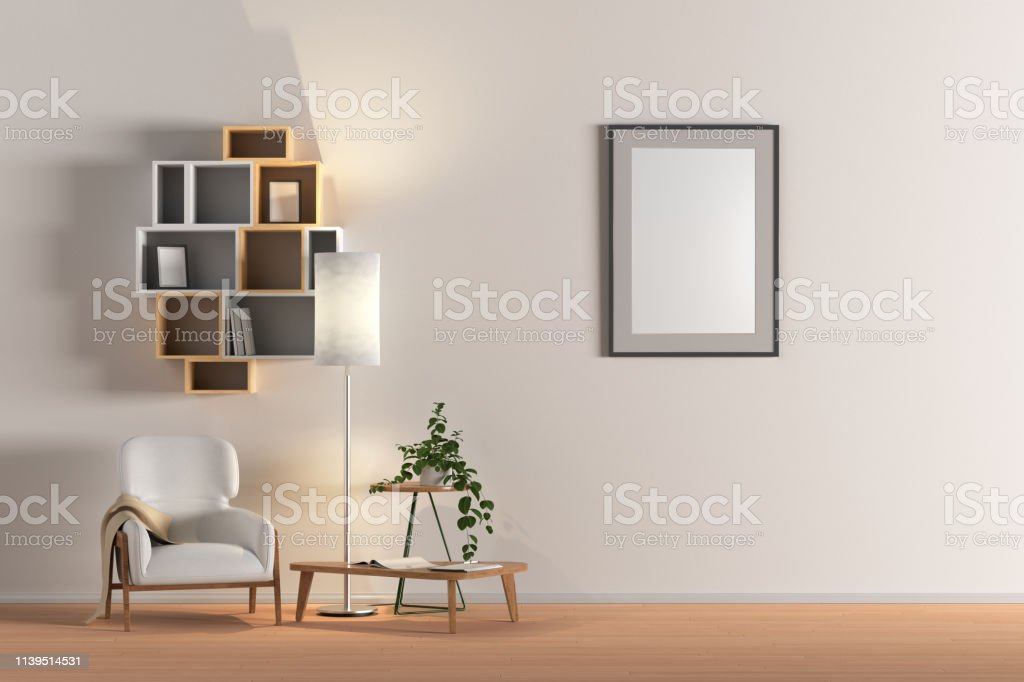 Blank wall with vertical poster in living room interior mock up with...