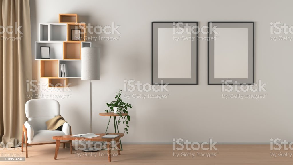 Blank wall with two vertical posters in living room interior mock up...