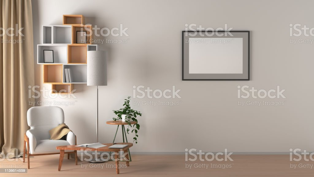 Blank wall with horizontal poster in living room interior mock up...