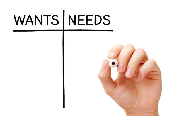 Blank Wants And Needs List Concept Hand drawing blank Wants and Needs list with black marker on transparent glass board. weakness stock pictures, royalty-free photos & images