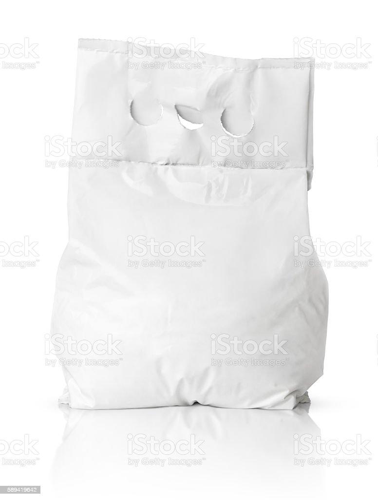 Blank washing powder bag package on white stock photo