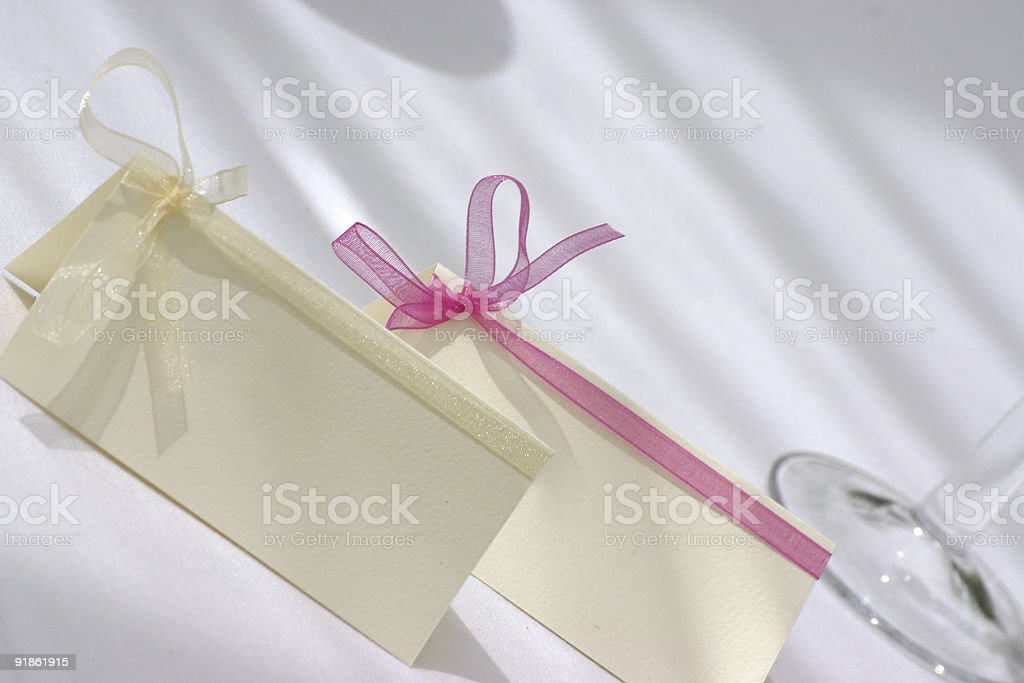 blank wedding table place cards stock photo