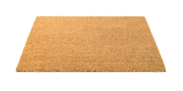 Blank Welcome Mat Isolated on White Background stock photo