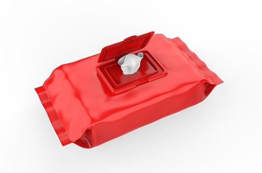 istock Blank Wet Wipes Soft Tissue Package For Branding, 3d render illustration. 1214198479