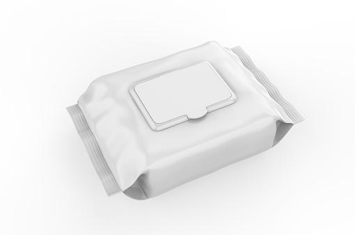 istock Blank Wet Wipes Soft Tissue Package For Branding, 3d render illustration. 1214198568