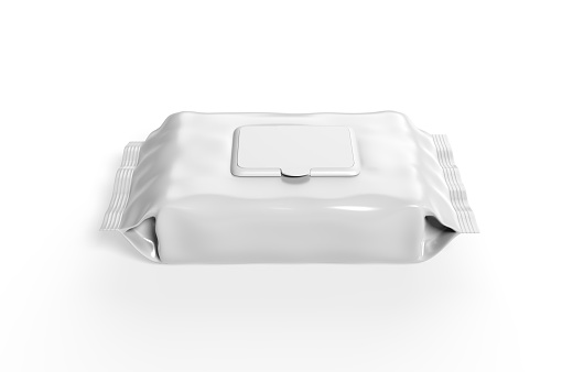 istock Blank Wet Wipes Soft Tissue Package For Branding, 3d render illustration. 1214198648