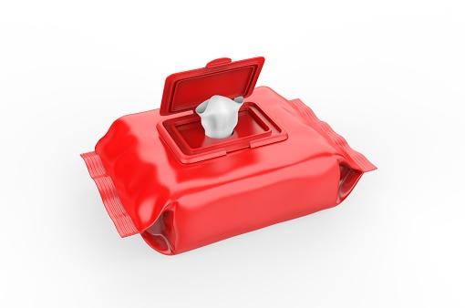 istock Blank Wet Wipes Soft Tissue Package For Branding, 3d render illustration. 1214206509