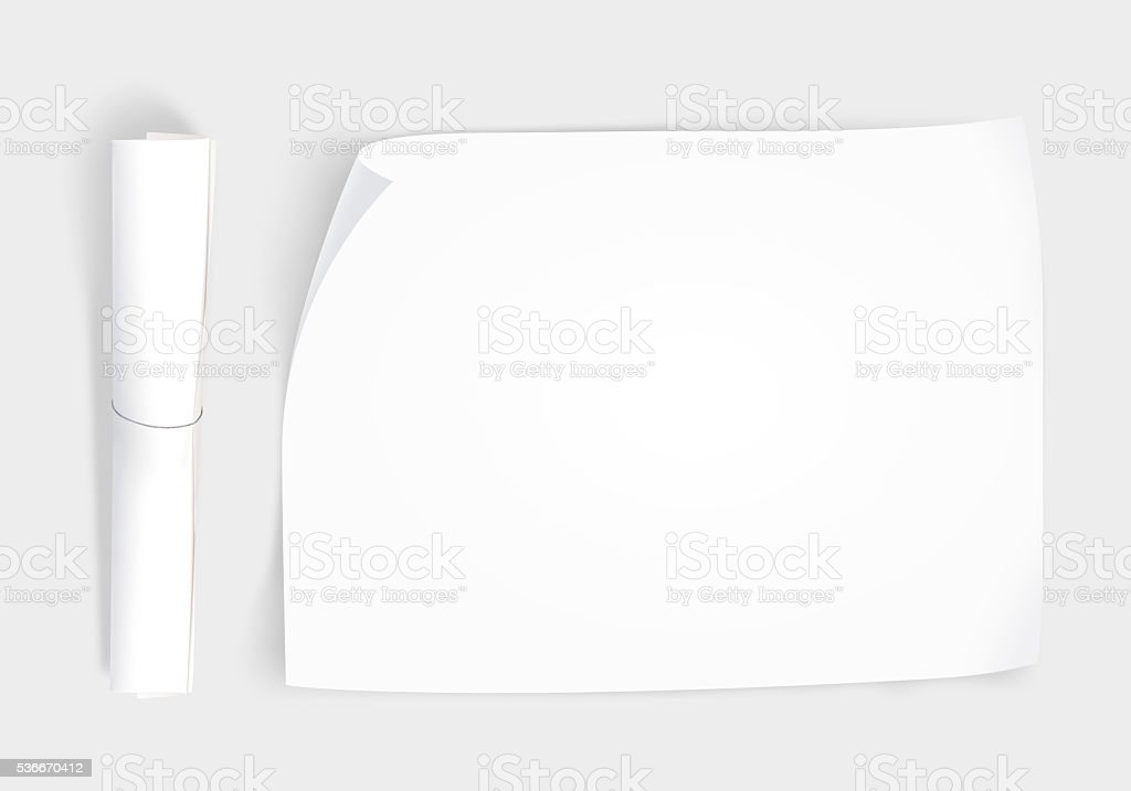 Blank whatman paper mockup with roll, top view isolated stock photo