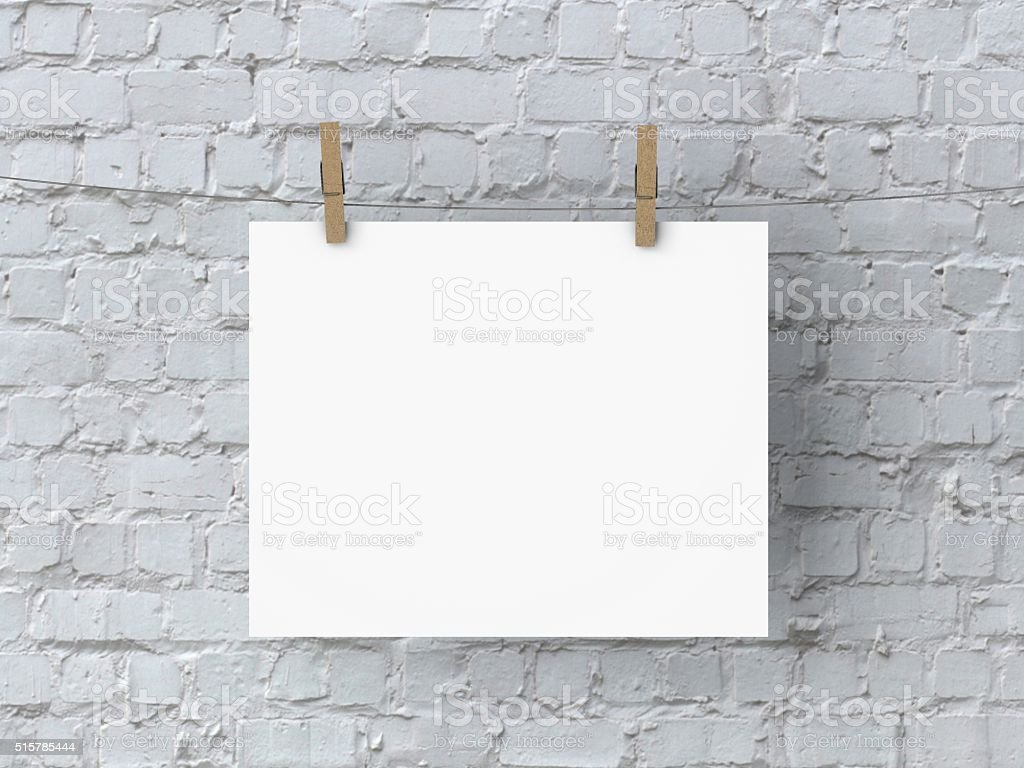 Blank white 10x8 poster mock up stock photo