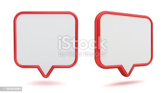 1125351850istockphoto Blank white 3d speech bubble pin icon with red edge isolated on white background with shadow 3D rendering 1136680680