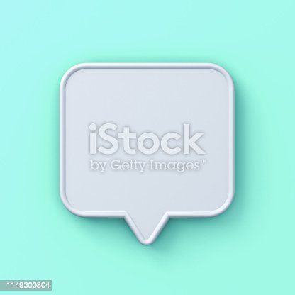 1125351850istockphoto Blank white 3d speech bubble pin isolated on light green blue pastel background with shadow 3D rendering 1149300804