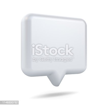 1125351850istockphoto Blank white 3d speech bubble pin isolated over white background with shadow 3D rendering 1149300752