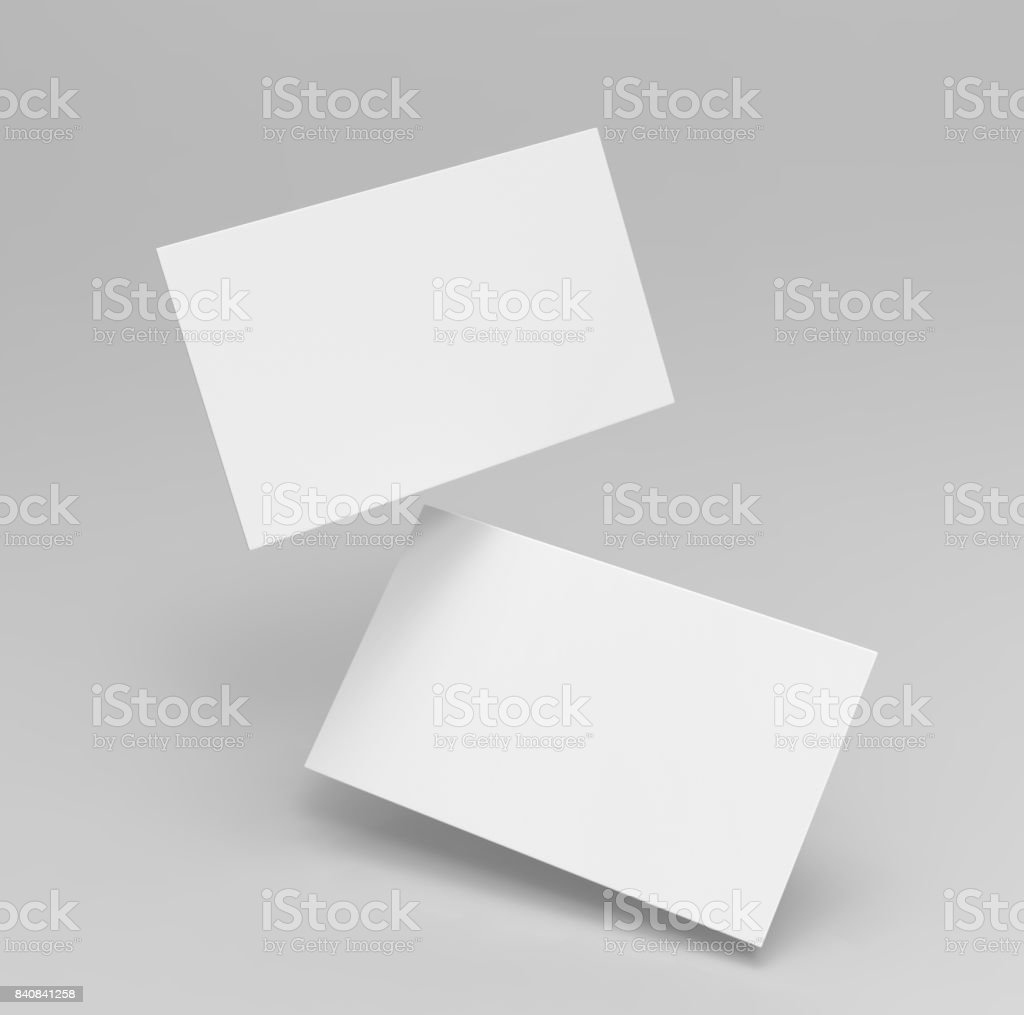 Blank white 3d visiting card and business card template 3d render illustration for mock up and design presentation. stock photo
