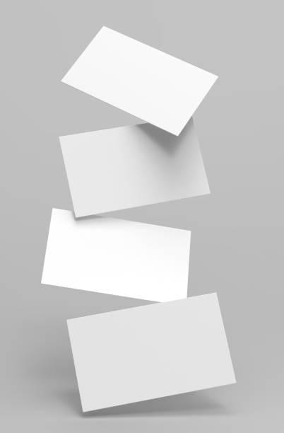leere weiße 3d visitenkarte und visitenkarte vorlage 3d render illustration für mock und präsentation. - motionless in white stock-fotos und bilder