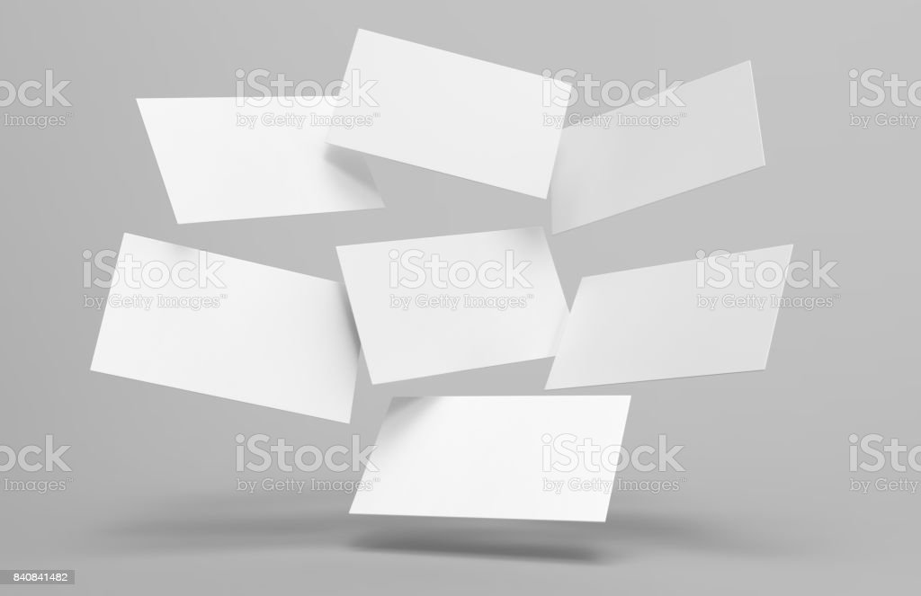 Blank white 3d visiting card and business card template 3d render illustration for mock up and design presentation.