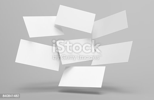 istock Blank white 3d visiting card and business card template 3d render illustration for mock up and design presentation. 840841482
