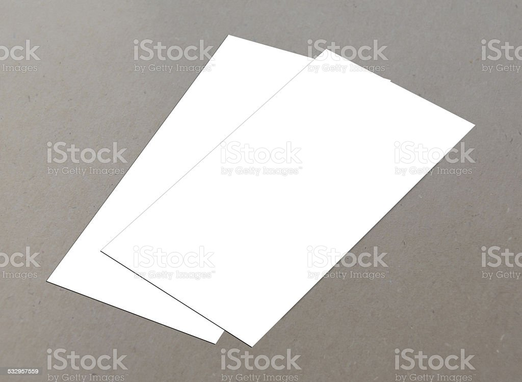 Blank white 4x8 inch flyer collection - 3 stock photo