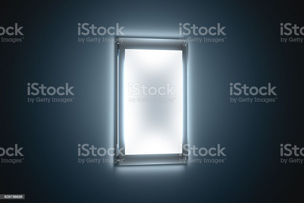 Blank white a3 poster mockup in illuminated glass holder stock photo