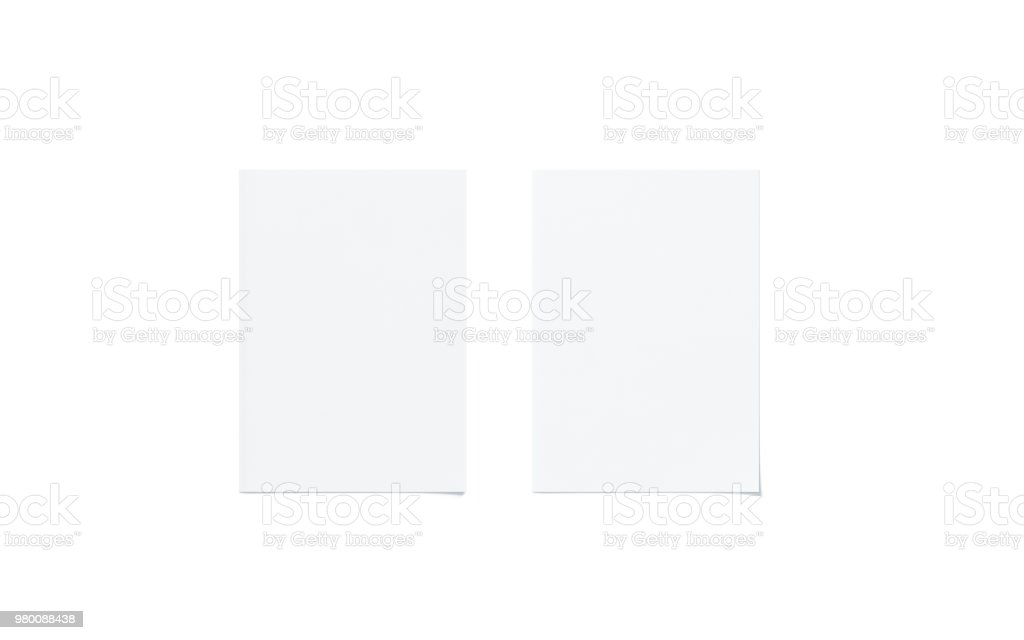 Blank white a5 flyer mock up set, top view stock photo