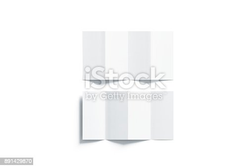 1221251713 istock photo Blank white accordion booklets mockups set, opened top view 891429870