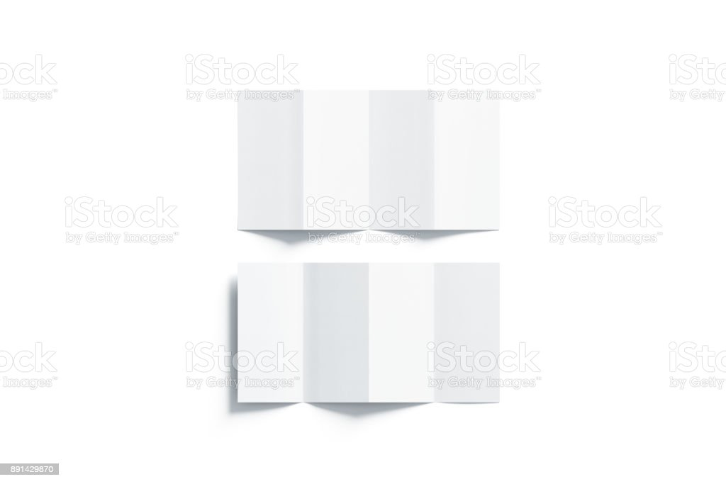 Blank white accordion booklets mockups set, opened top view stock photo