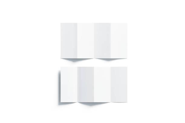 leere weiße akkordeon broschüren mockups gesetzt, ansicht von oben geöffnet - faltpapier stock-fotos und bilder